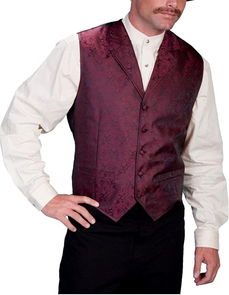 Scully Rangewear Men's Rangewear Paisley Print Vest Big and Tall Burgundy XX-Large Tall