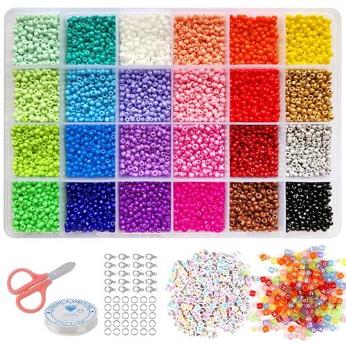 5000 Cuentas de Colores 3mm Mini Cuentas y 700 Piezas Cuentas del Alfabeto Abalorios Cristal para DIY Pulseras Regalo Collares Bisutería (3mm)