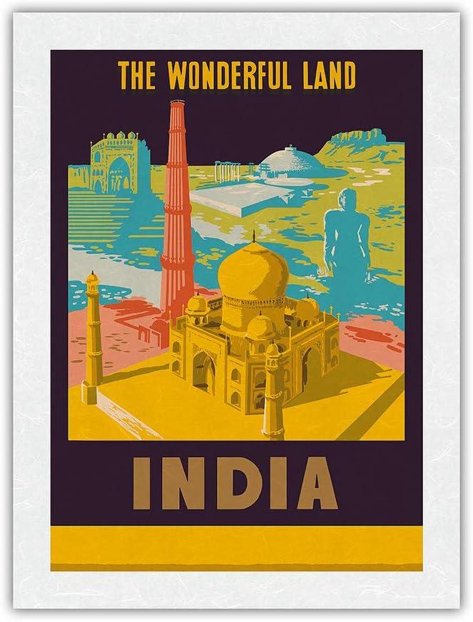 India Very popular - The Wonderful Land Taj c Mahal Travel specialty shop Vintage Poster