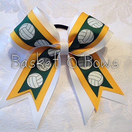 Small Bow ~ FOREST GREEN VOLLEYBALL Hair Bow ~ 3-layer ~ Made to Order