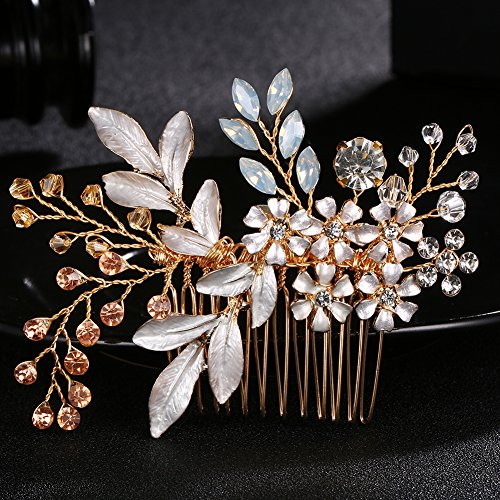 LYF Gorgeous Wedding Headpiece For Bride And Bridesmaid Flower Hair Comb Colorful Rhinestone Bridal Hair Accessory (Gold)