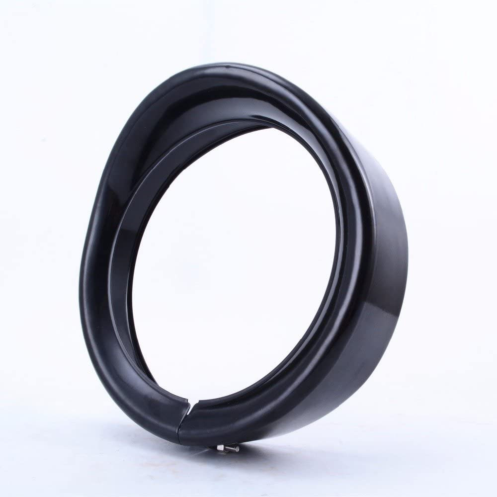 Eagle Lights Headlight French Ring Visor for Harley Davidson Indian Motorcycles 5.75 inch, Black