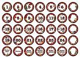 24 Adventskalender-Zahlen + 11 Motive (Aufkleber Etiketten Sticker)   Romantic Snow Dekor   Schrift:...