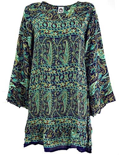 Guru-Shop, Boho Tuniek met Riem, Luchtige Blouse Tuniek, Mini-jurk, Blauw, Synthetisch, Size:12, Blouses Tunieken