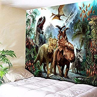 DEQI Dinosaur Tapestry Wall Hanging Wild Anicient Animals Wall Tapestry Tropical Rain Forest Jungle Natural Wall Blanket Home Decor for Children Bedroom Living Room Dorm W59
