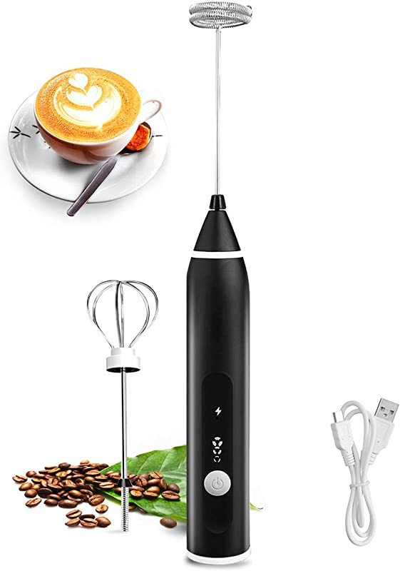 Milk Frother 3 Speeds Foam Rechargeable Frother Make For Coffee Latte Cappuccino Chocolate Milk Tea Coconut Milk Durable Frother Drink Mixer With Stainless Steel Whisk