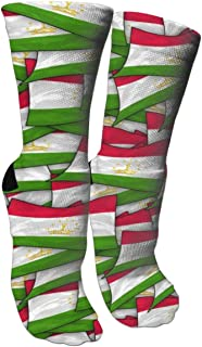 Women's Tajikistan Flag Wave Collage Cotton Performance Cushion Moisture Wicking Sport Funny Crazy Athletic Novelty Casual Crew Socks