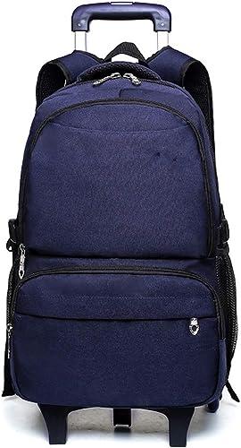 Kinder Unisex Multifunktions Trolley Tasche - Hohe Kapazit Rollendes Büchertasche(Blau 2 R r)