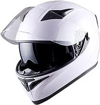 1STorm Motorcycle Street Bike Dual Visor/Sun Visor Full Face Helmet Mechanic Glossy White, Size Large (22.4/22.8 Inch)