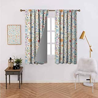 Decor Curtains Pattern with Cute Pastime Things Baby Bunny Tea Glasses Balls of Yarn and Needles Multicolor Energy Efficient Room Darkening 72
