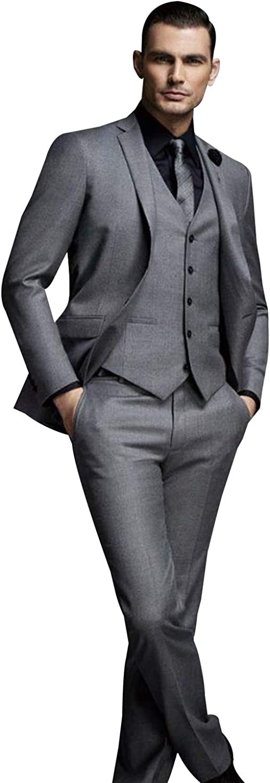 Frank Men's Dark Grey Wedding Suits for Men 3 Pieces Business Prom Groom Tuxedos Jacket+Vest+Pants