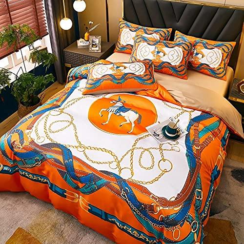 funda de edredón 180,Táctil suave sedoso, hipoalergénico, fresco y ligero, conjunto de ropa de cama de lujo de 4 piezas, bolsillo de profundidad elástica para ajuste cómodo-Y_1,8 m de cama (4 piezas)