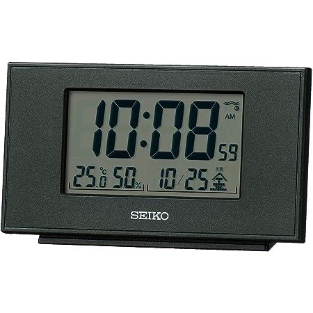 セイコークロック 置き時計 黒メタリック 本体サイズ:7.8×13.5×3.8cm 目覚まし時計 電波 デジタル カレンダー 温度 湿度 表示 SQ790K