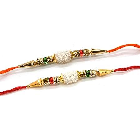 IndiaBigShop Set of Two Rakhi Raksha bandhan Gift for your Brother Vary Color Five Stone Rakhi thread