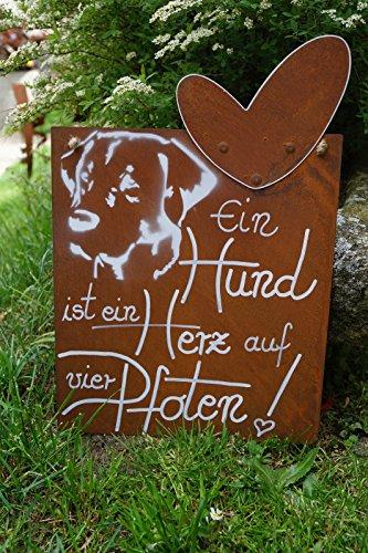Dekostüberl Rostalgie Edelrost Tafel- EIN Hund ist EIN Herz auf Vier Pfoten-Spruch Handarbeit Garten