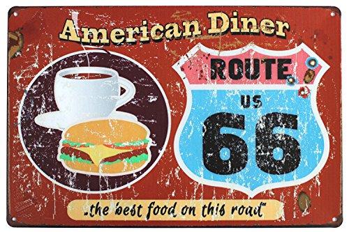 Hioni American Diner Route US 66 The Best Food On The Road Vintage Blechschild Poster Wandschild Wand Dekoration Metallschild Türschild
