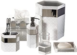 Creative Scents Quilted Mirror Bathroom Accessories Set, 6 Piece Bath Set Collection Features Soap Dispenser, Toothbrush Holder, Tumbler, Soap Dish, Tissue Cover, Wastebasket (White)