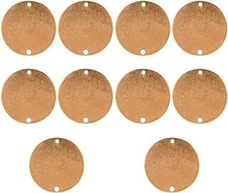 MILISTEN 10 Pz Vuoto Timbratura Tag Ciondoli Tondo Rame Timbratura Tag Vuoto Metallo Creazione di Gioielli Fascino per Bra...