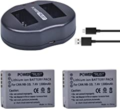 PowerTrust 2-Pack NB-10L NB10L Battery and Dual USB Charger for Canon G1X G15 G16 SX40HS SX50HS SX60HS SX40 SX50