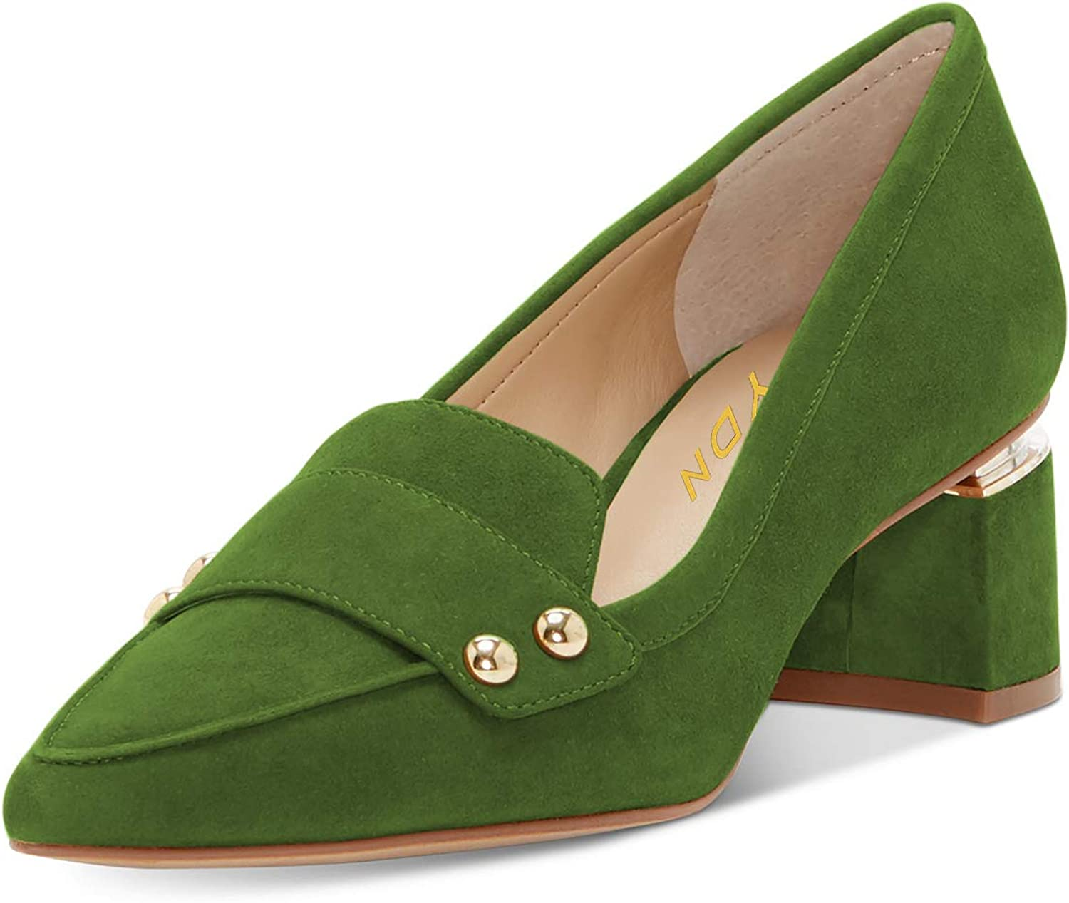 YDN Women Formal Pointed Toe Low Heel Loafers Slip On Faux Suede Leather Business Office Party Dress Pump shoes