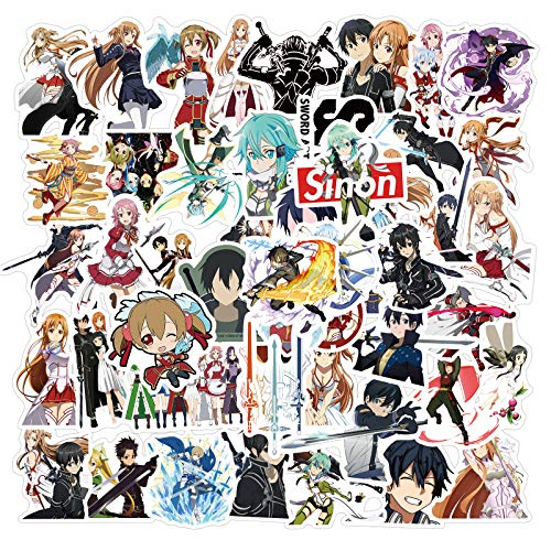 Dheckbluesky Anime Sticker Pack 50 Stück Sword Art Online Aufkleber Einzigartige Coole Aufkleber Laptop Waterbottle Gitarre Skateboard Travel Kid Aufkleber