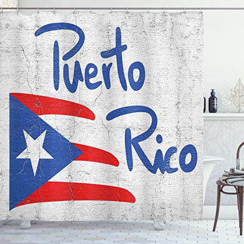 Lunarable Puerto Rico Shower Curtain, Hand Drawn Flag and Lettering Weathered Background, Cloth Fabric Bathroom Decor Set with Hooks, 70' Long, Cobalt Blue Pale Taupe