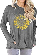 Koodred Womens Casual Graphic Long Sleeve Crew Neck Loose Sweatshirt T Shirts Tops Blouse