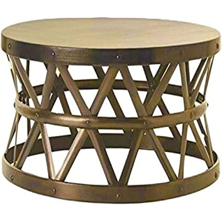 Amazon Com Git Mit Home Hammered Antique Drum Cross Coffee Table Brass Furniture Decor