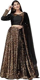 Lehenga Style Embroidered Semi Stitched Lehenga Choli (Black_Free Size)
