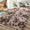 JOYFEEL Super Soft Area Rug, Modern Fuzzy Shag Fluffy Rugs for Bedroom Living Room Kids Playroom Nursery, Non Slip Carpet for Floor Tile Marble (Brown and White, 5x8 Feet)