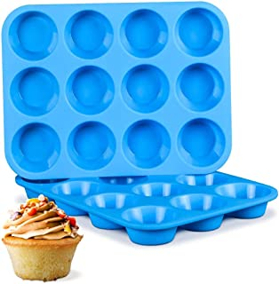 U-HOOME 2Pcs Silicone Muffin Pan Non Stick Silicone Muffin Tins Baking Molds, 12 Cups Silicone Mold Cupcake Baking Pan