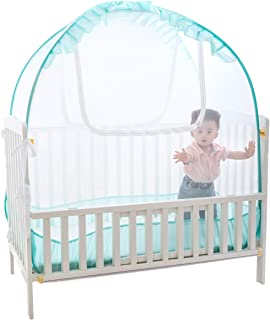 """Baby Crib Pop up Tent, V-Fyee Baby Bed Mosquito Net Safety Tent Canopy Cover to Keep Toddler from Climbing Out and Keep Insects Out (Cyan, 56""""L x 26""""W x 48""""H)"""