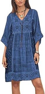 FSSE Womens Bohemian Print V Neck Ethnic Style Casua Dress Mini Dress