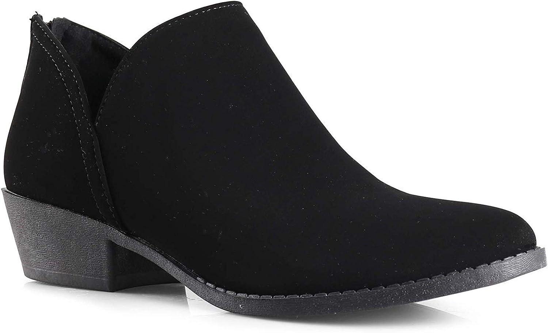 City Classified Women's Ankle Bootie Side V Cut Low Chunky Stacked Heel, Black Nubuck, 6