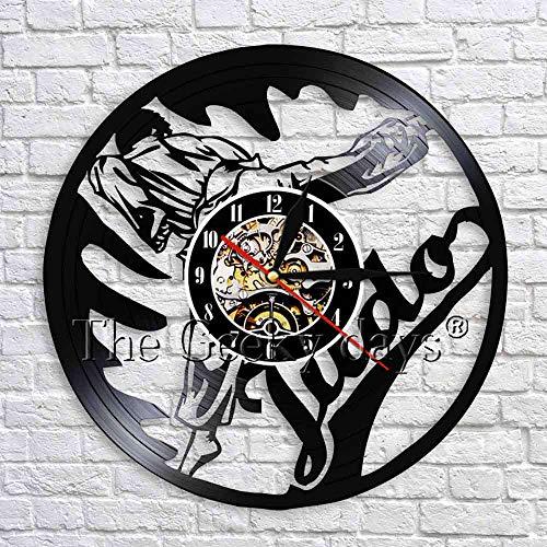 UIOLK Judo Artes Marciales Judo Gym Sign Wall Art Decor Jujitsu Disco de Vinilo Reloj de Pared Reloj de Pared Vintage Artes Marciales japonesas Judo Gift
