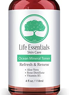 Ocean Mineral Toner - Facial Cleanser - Contains Rose Water, Aloe, Witch Hazel & Vitamin B - Best Toner For Face - Anti Aging, Acne For Sensitive & Oily Skin 4oz Bottle