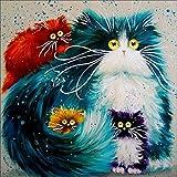 Yeesam Art - Cuadro para rellenar con piedras brillantes, 4 gatos persas, producto para hacer tú mismo de 5Dy con un bordado de punto de cruz numerado.