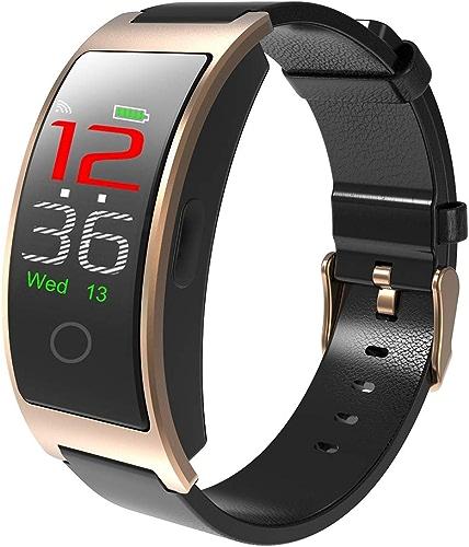 LIRONG Bracelet de Sport en Cuir Moniteur de Tension artérielle de fréquence voiturediaque Intelligent Bracelet de Surveillance du Message Push Sommeil,or