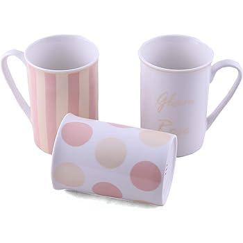 Juego de 3 tazas de porcelana para té o café, con caja de regalo Glory Gold: Amazon.es: Hogar