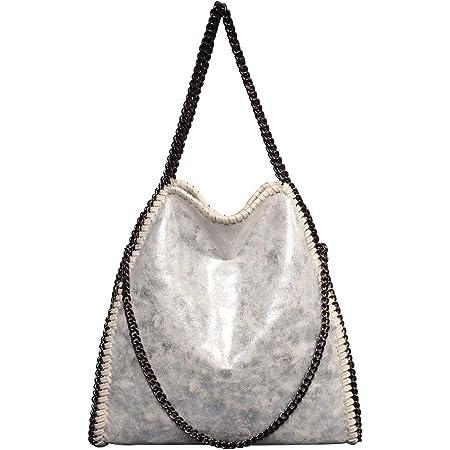 Damen lässige Handtasche PU Leder Umhängetasche Kettentasche Hand Mode Geldbörse Handtasche (Silber)