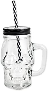 Ace Select Glass Cup 300 ml Skull Glass Wine Mug Drinking Jar with Lid and Straw - Transparent