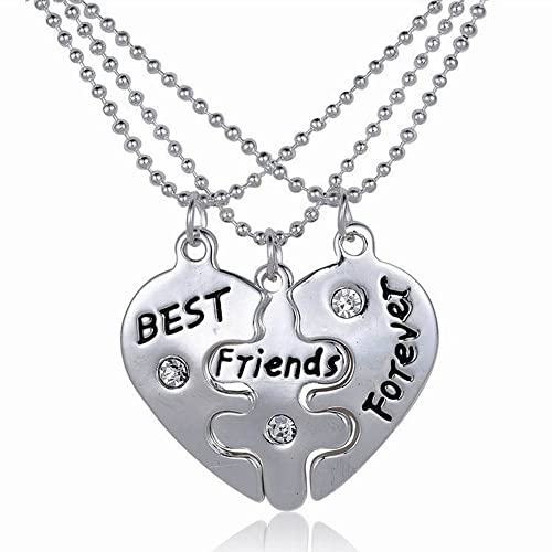 Gemini_mall® BBF Best Friends Forever Necklace Friendship Love Gift Long Chain Heart Pendant Necklaces for Women (Best Friends Forever)
