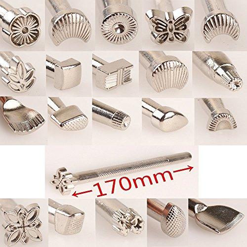 BigBigShop 20 Stück verschiedene Formen Leder Schnitzen Stempel Formen Set Sattelherstellung Werkzeuge für Lederarbeiten arbeiten Mond Blume Schmetterling Form