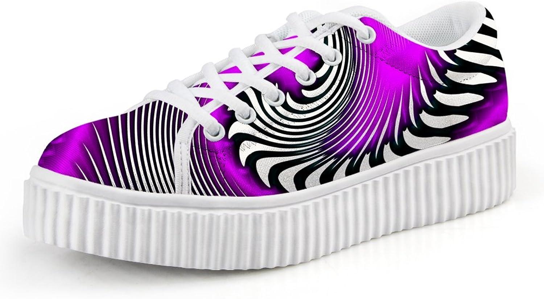 Chaqlin Women Fashion shoes in Wide 3D Geometric Figure Lace-up Sneaker