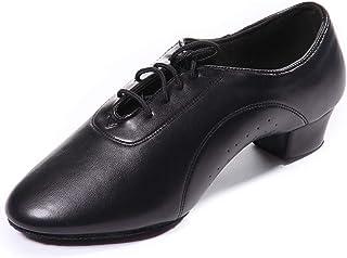 DoGeek Latin Dance Shoes Round Toe Mid Heel Shoes 3cm Latin Shoes Ballroom Men Black for Latin/Modern/Samba/Chacha Dance(B...