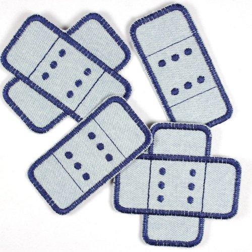 Flicken zum aufbügeln Pflaster Set 4 Stück Buegelflicken Jeans hellblau dunkelblau Aufbuegler Knieflicken Hosenflicken