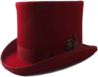 SHENTIANWEI 100% Wool Red Top Hat for Men Women Raditional Feather Fedora Hatter Magician Hat Sam Beaver Church Hat