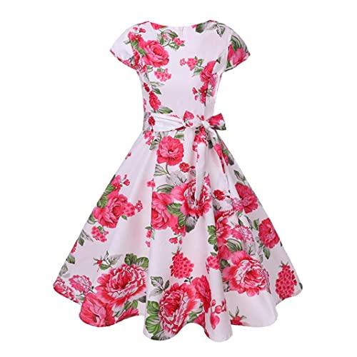 Women High-Waist Pleated Dress Sleeveless Floral Printed Prom, 1950's Retro Skirt Party Cocktail A-Line Dress with Belt,Retro Pleated Skirt for Girls Ladies (Red-Peony, S/UK 8)
