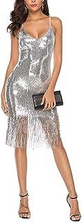 Sleeveless Spaghetti Straps Sequins Club Dress Long Tassel Midi Dresses Women's Sexy Deep V Neck Backless Dress, Cloth (Color : Silver, Size : XL)