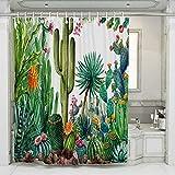 JOTOM Duschvorhang Grüne Kakatus Blätter Badewannenvorhang Duschvorhänge Schimmelresistenter & Wasserabweisend Shower Curtain mit 12 Duschvorhangringen 180x180cm (Kaktus A)